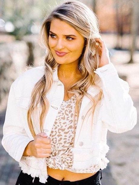 shop these three Frayed White Denim Jacket