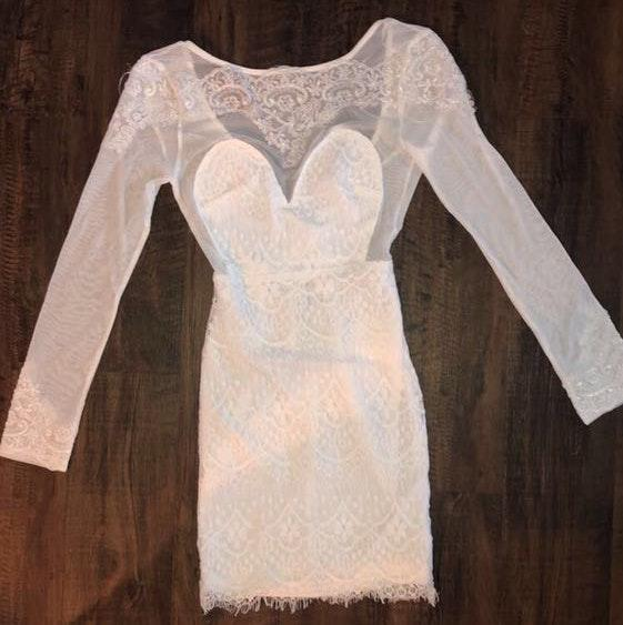 Xenia White Embroidered Lace Dress