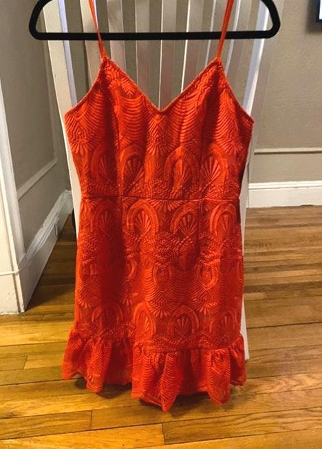 Lulus red lace mini dress