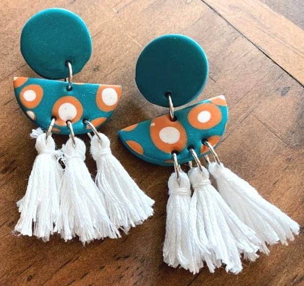 Handmade polymer clay earrings with tassels