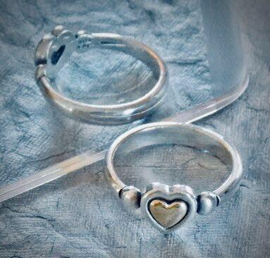 James Avery Gold Sterling Silver Rare Retired True Heart 14k Ring Curtsy