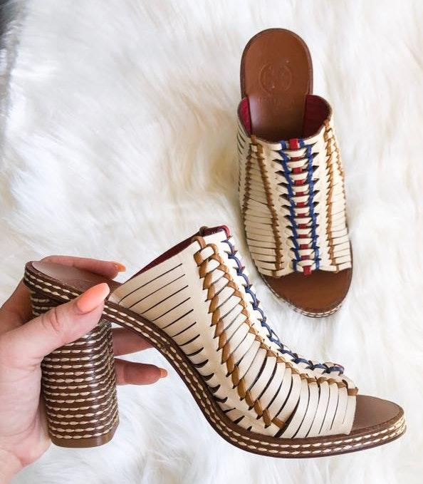 Tory Burch Woven Embroidered Pecha Mules