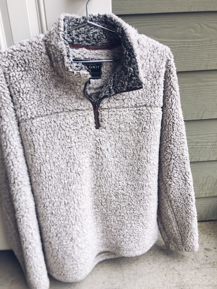 True Grit White Fuzzy Pullover