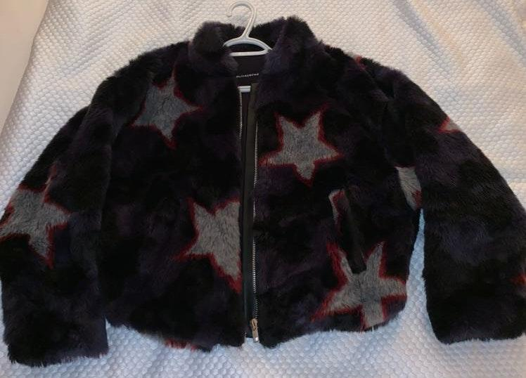 Olivaceous Star Print Fur Coat