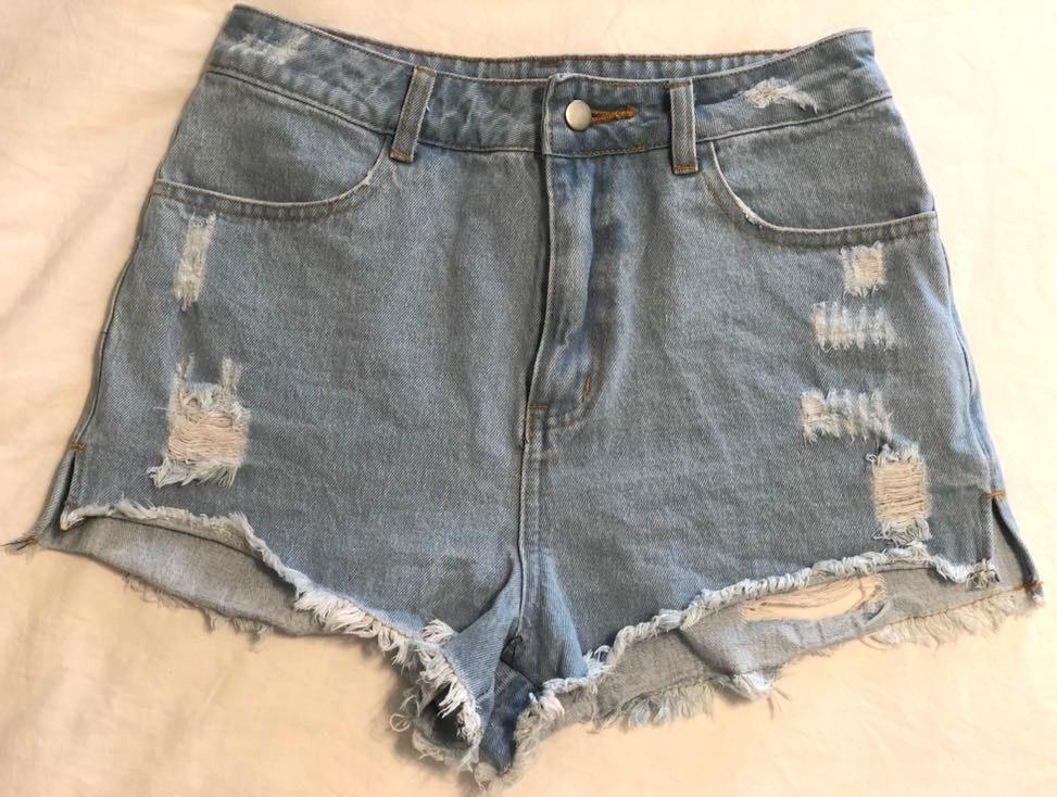Honey Punch High-waisted Ripped Shorts