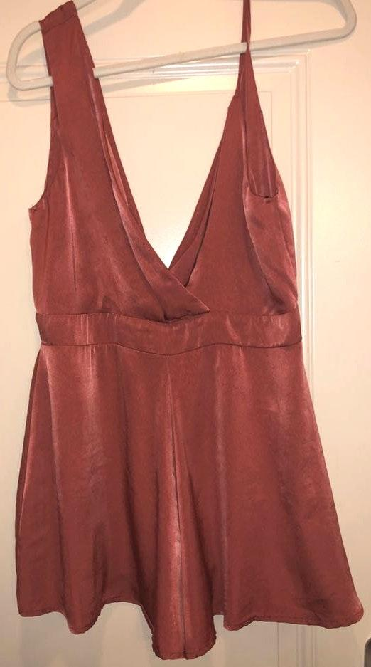 B.Original Asymmetrical Rust Romper