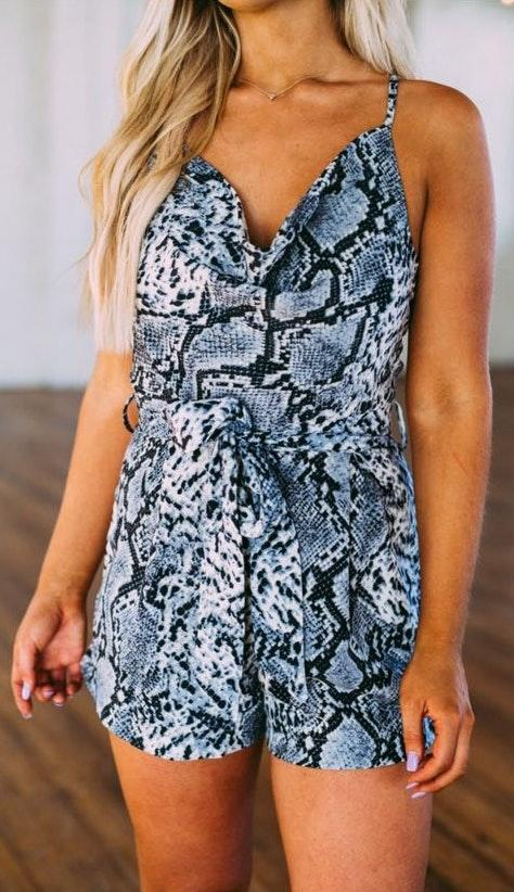 These Three Boutique Blue Snakeskin Romper