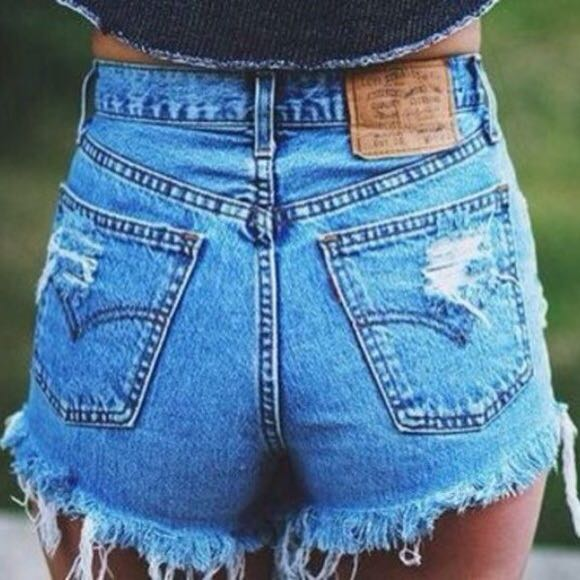 Levi's High Waisted Distressed Mom Shorts