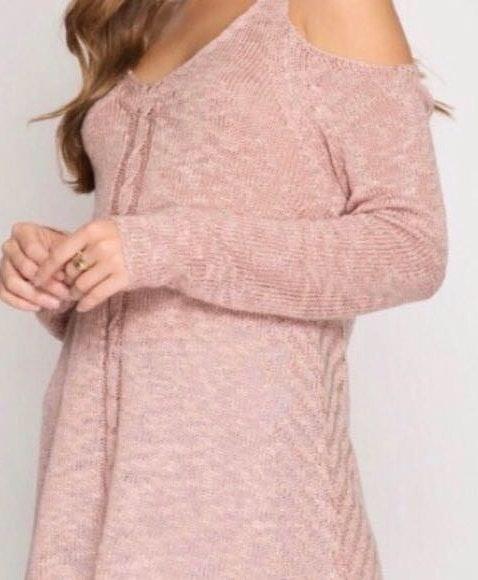 She & Sky Rose Knit Cold Shoulder Sweater