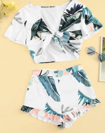 SheIn Two Piece Set Tropical Pattern