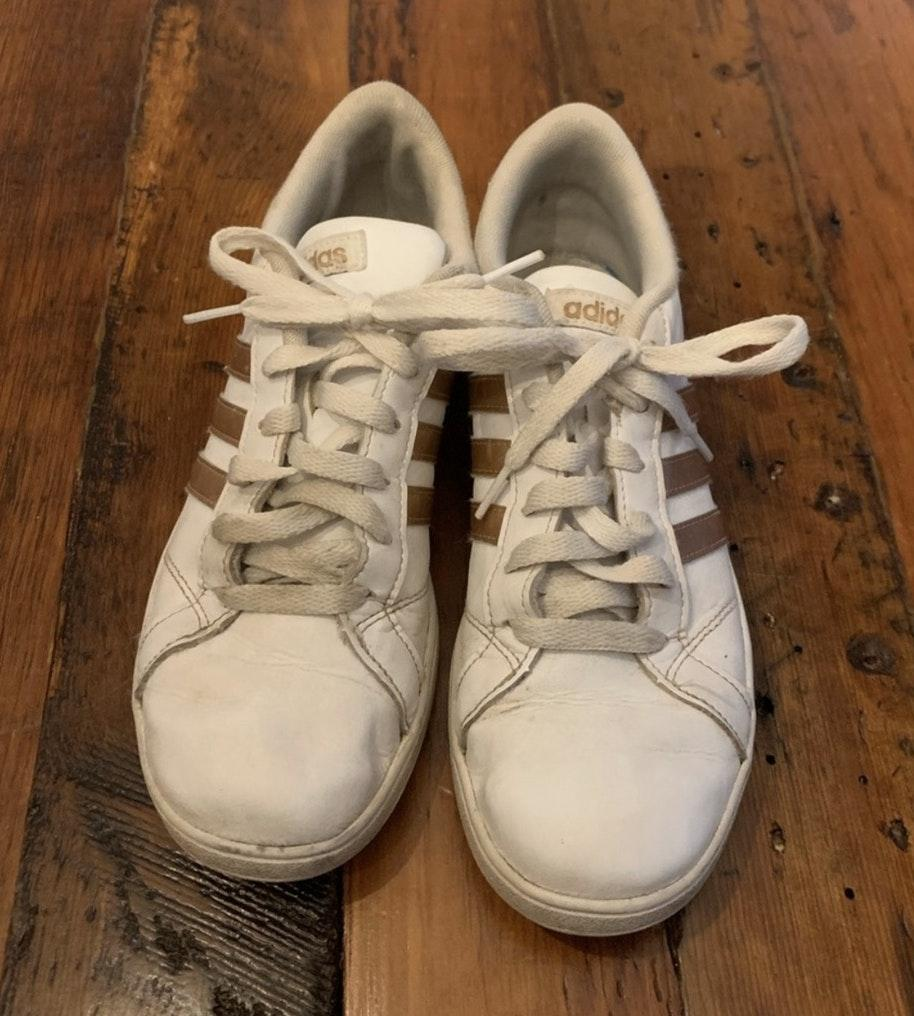 Adidas Gold Stripe Sneakers   Curtsy