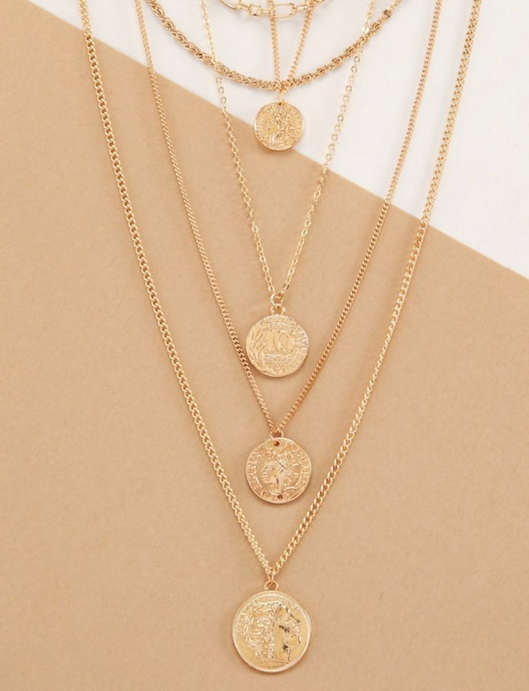 SheIn NWT  Gold Coin Layered Necklace
