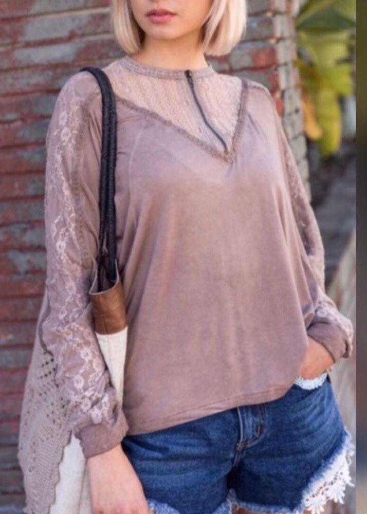 POL Pretty Stone Wash Boho Style Lace Top Blouse