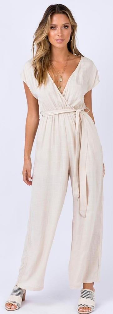 Princess Polly Sian Beige Jumpsuit