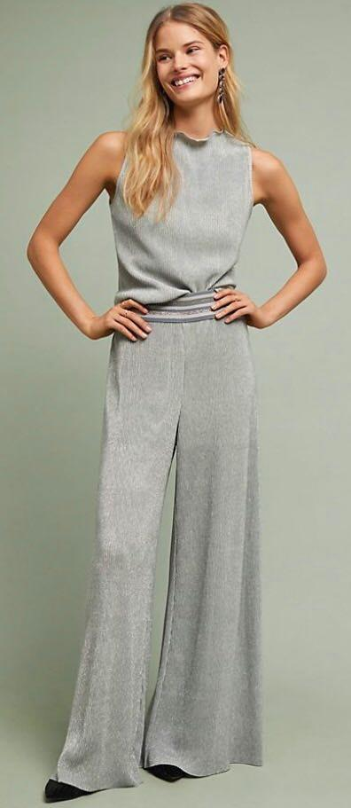 Anthropologie Flare Metallic Shimmer Pants