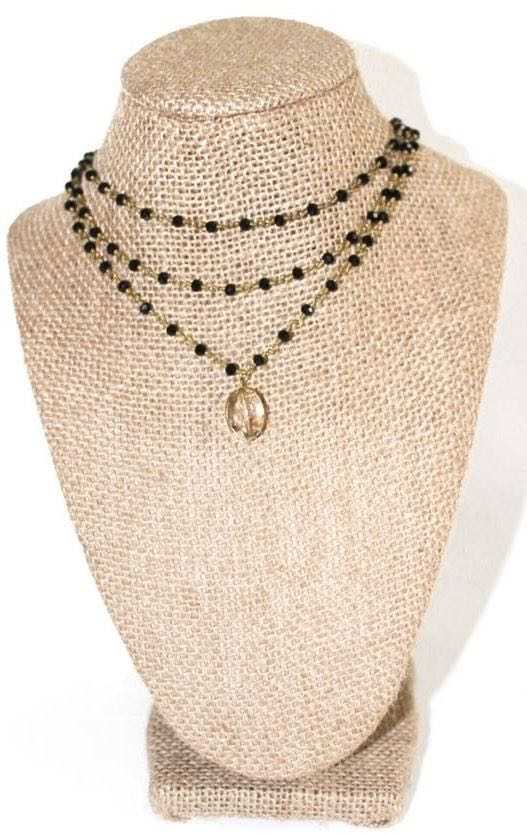 Beaded by Meg Black Triple Layer Necklace