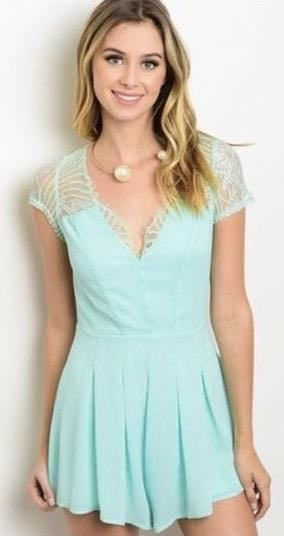 Mint Lace Romper Xenia Formal Party