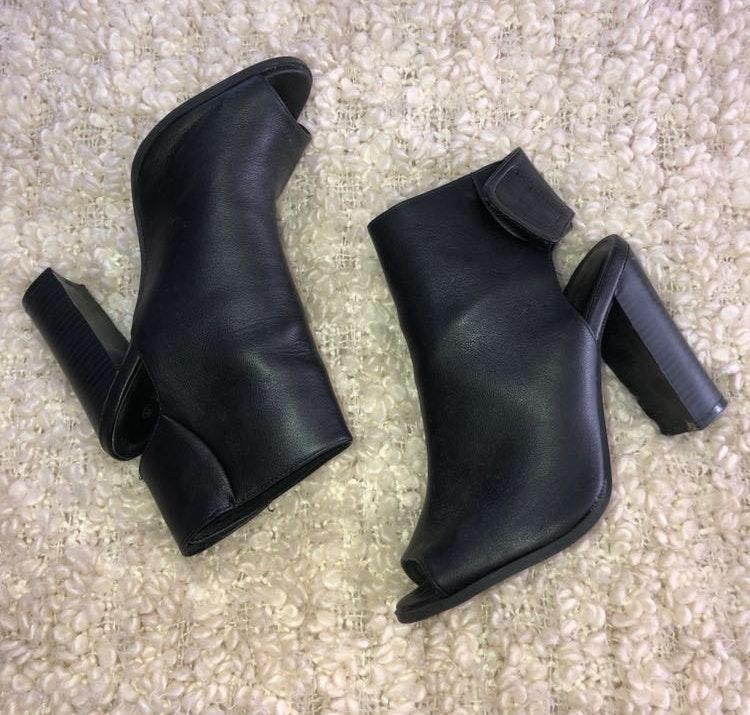 Black Leather Open Toe Booties