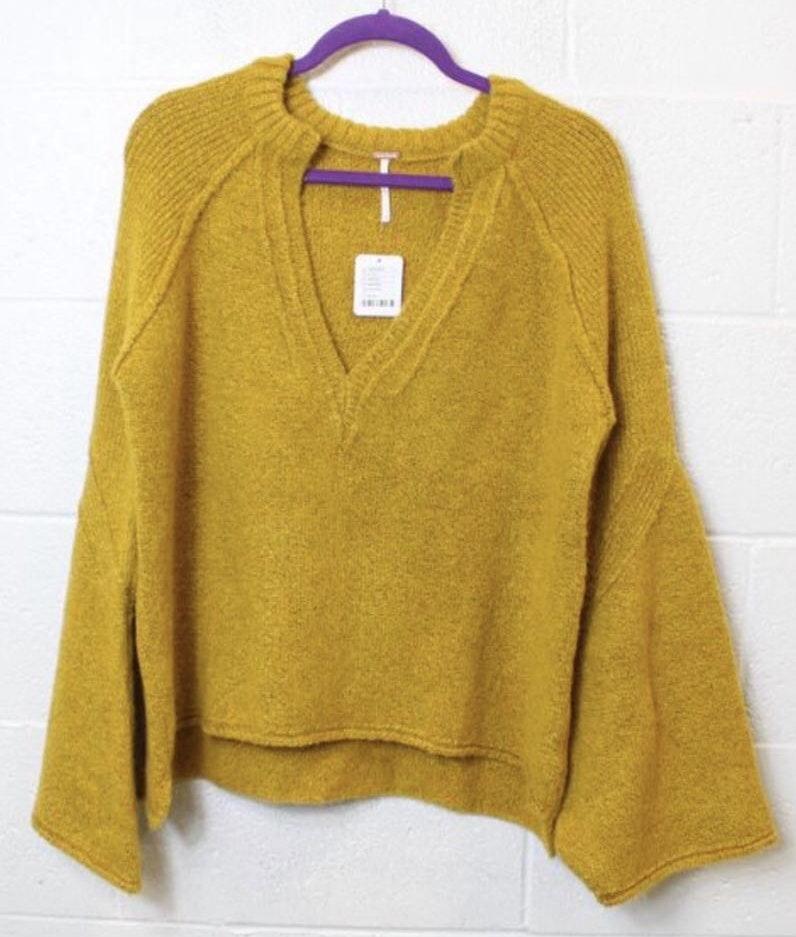 Free People Mustard Oversized V-Neck Knit Sweater