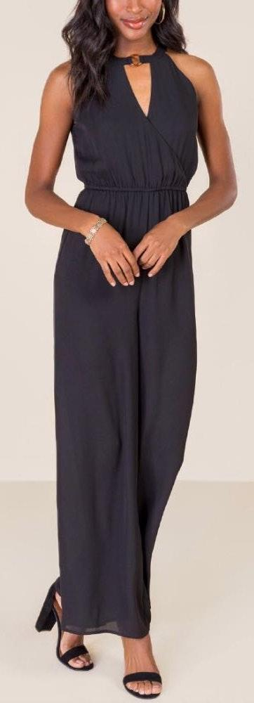 Francesca's Black Elegant Jumpsuit