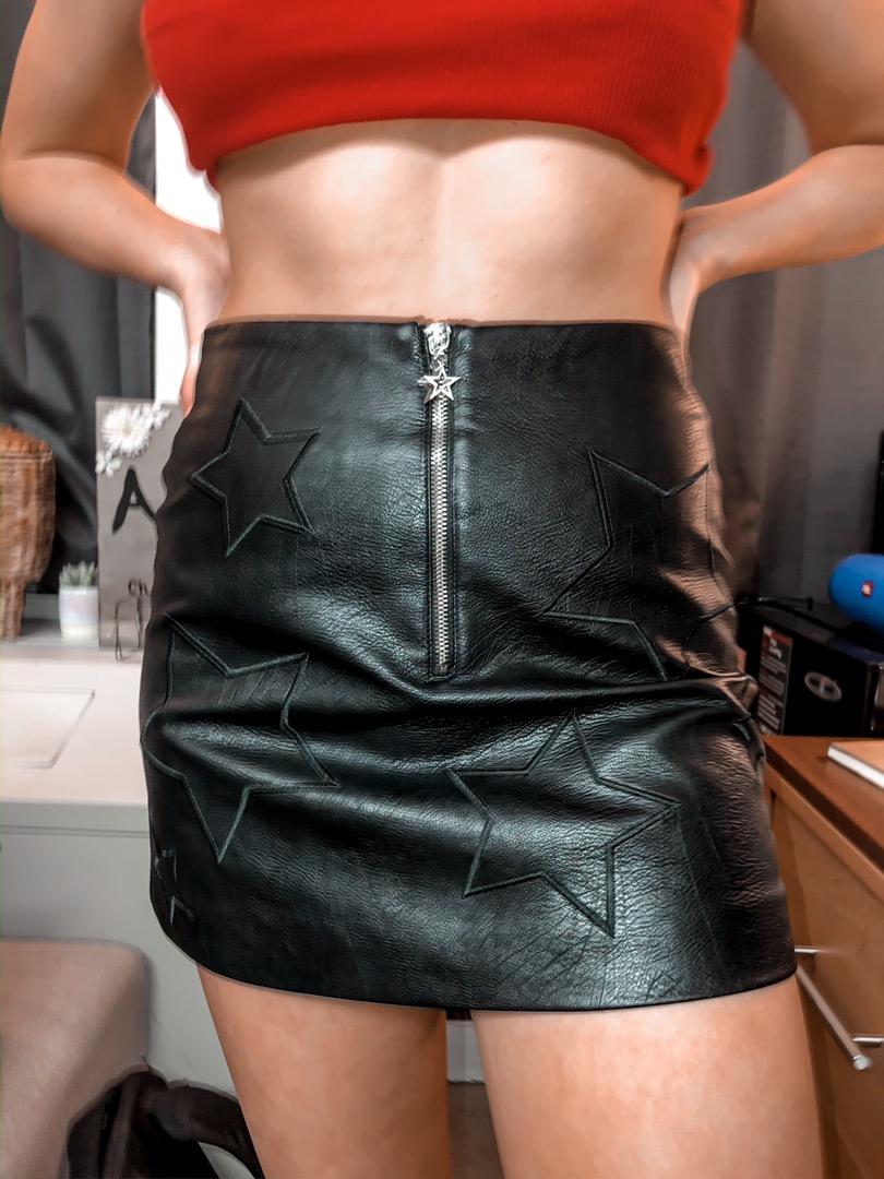 Black Starred Leather Skirt