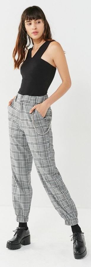 i.am.gia Cobain Plaid Relaxed-Fit Chain Pant
