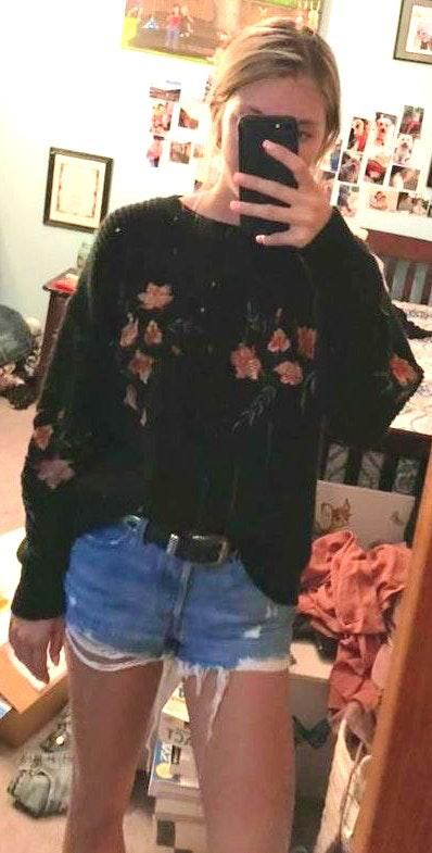 Lizard Thicket black floral sweater
