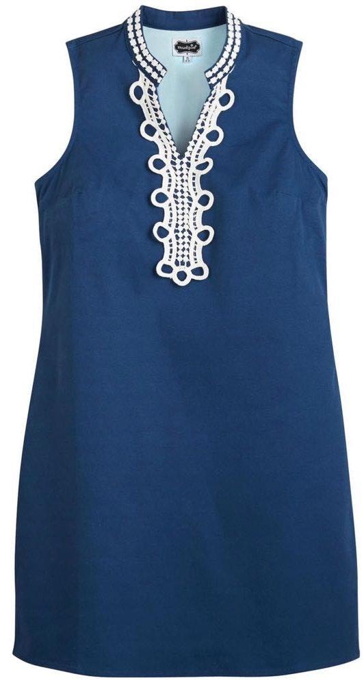 Mud Pie Navy Blue Dress W/ White Embroidery