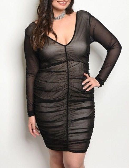 Samunsboutique Plus Size Mesh Bodycon Mini Dress