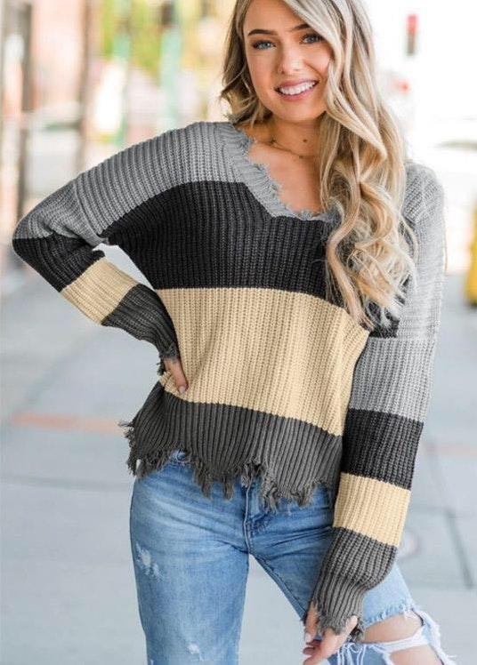 Striped Knit Sweater!