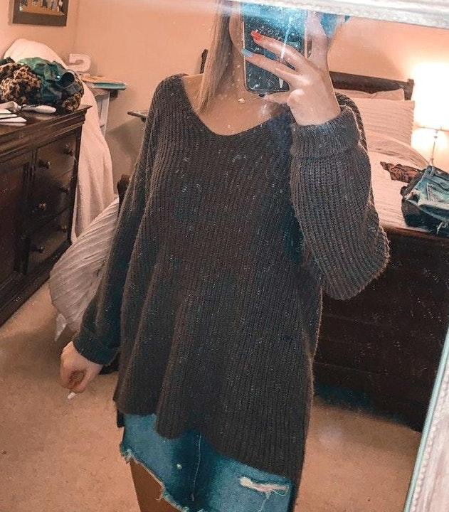 American Eagle Outfitters Don't Ask Why Brown Open Back Sweater