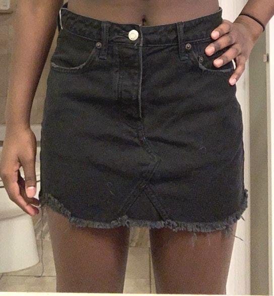 American Eagle Outfitters distressed denim mini skirt