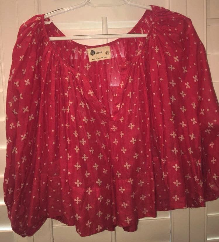 Anthropologie Red Patterned Shirt