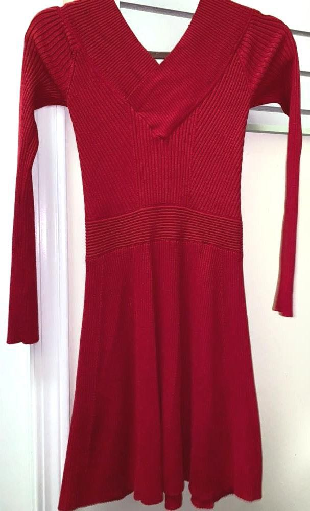 Candie's Red V-neck Sweater Dress