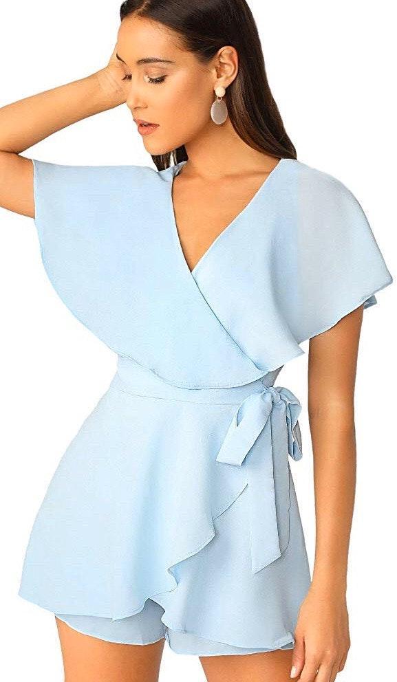 SheIn Light Blue Wrap Dress Romper