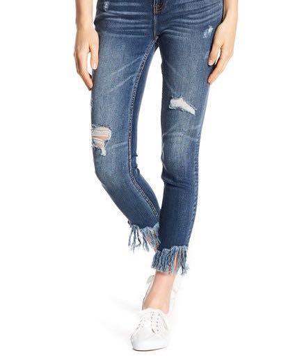 fringe ankle hem skinny jeans