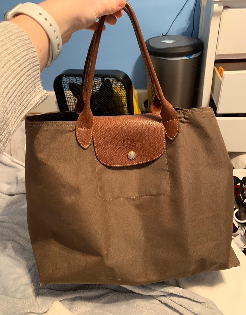 Longchamp Medium Shoulder Tote Khaki Green