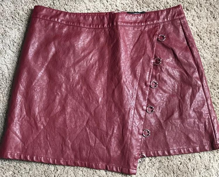 These Three Boutique Red Leather Skirt