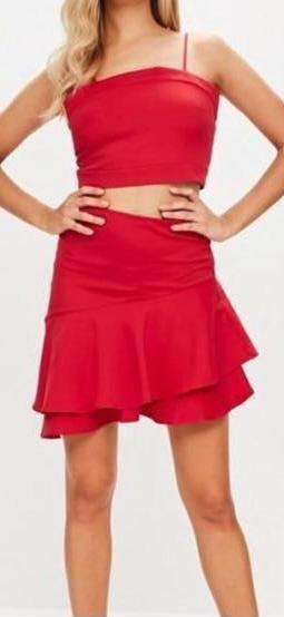 Missguided Red Two Piece Set