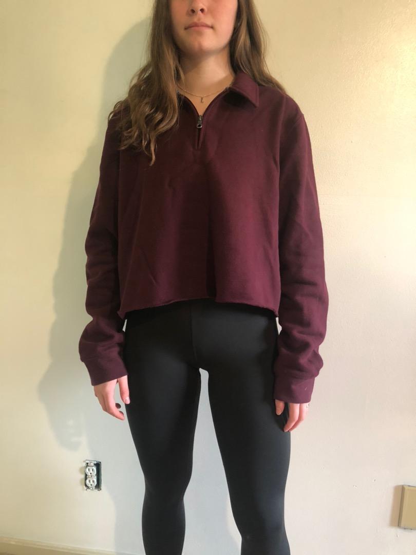 Cropped Burgundy Quarter zip