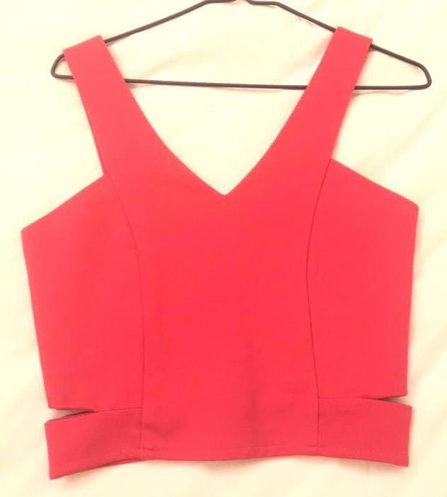 Aritzia Hot Pink Zip Back Crop Top With Side Cutouts