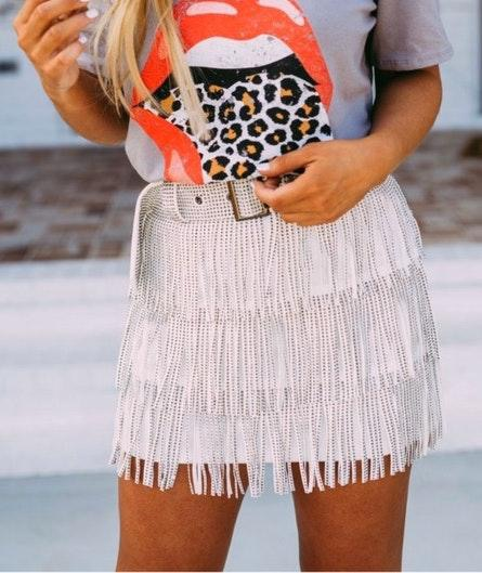These Three Boutique White Metallic Fringe Mini Skirt