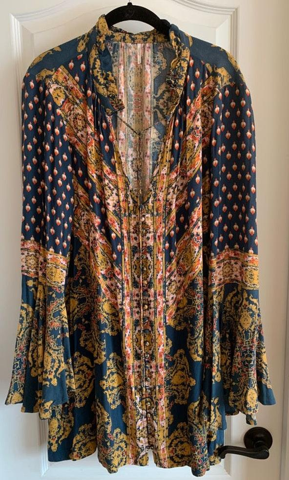 Free People Patterned Dress with Flare Sleeves