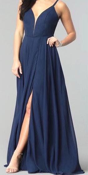 PromGirl Navy Blue Prom Dress