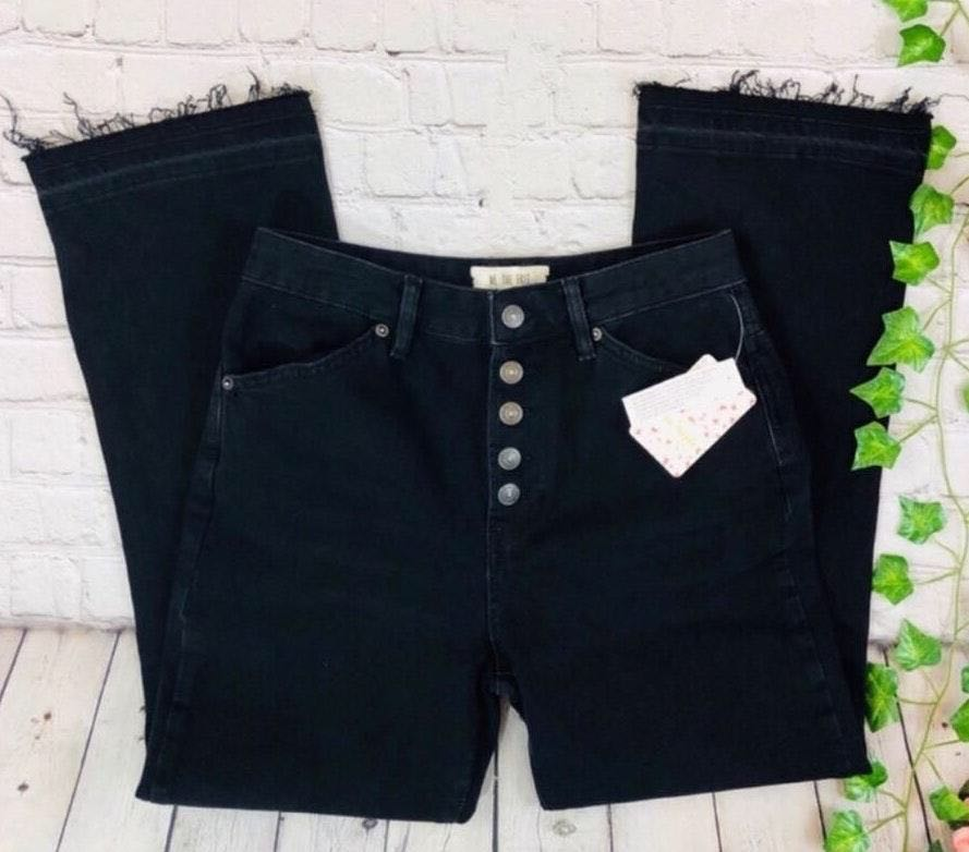 Free People NWT  High Rise Button Fly Mom Jeans
