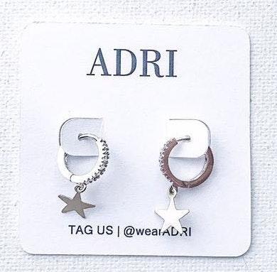Handmade ADRI sterling Silver Cz Huggie Star Earring