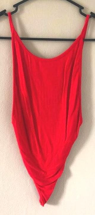 SheIn Red Low Back Bodysuit
