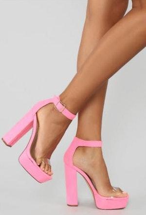 Fashion Nova NWOT  Along the Lines Heeled Sandals