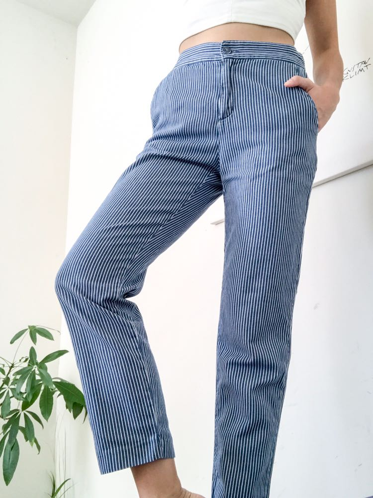ZARA Stripe Blue Comfy High Waist Chino Beachy Pant