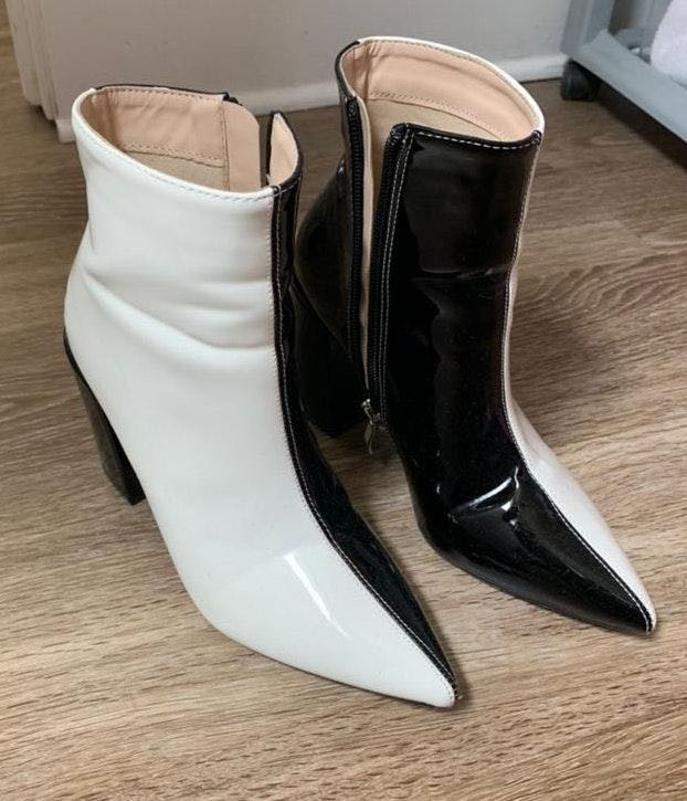 Nasty Gal Black and White Block Heel Booties